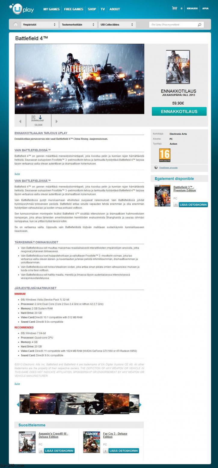 Battlefield 4 system requirement Ubisoft store