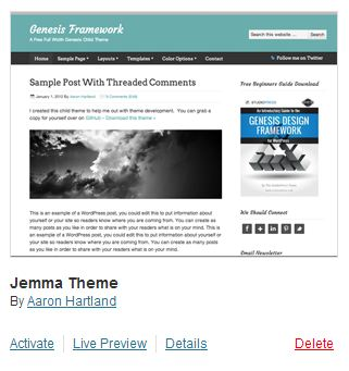 wordpress theme installed