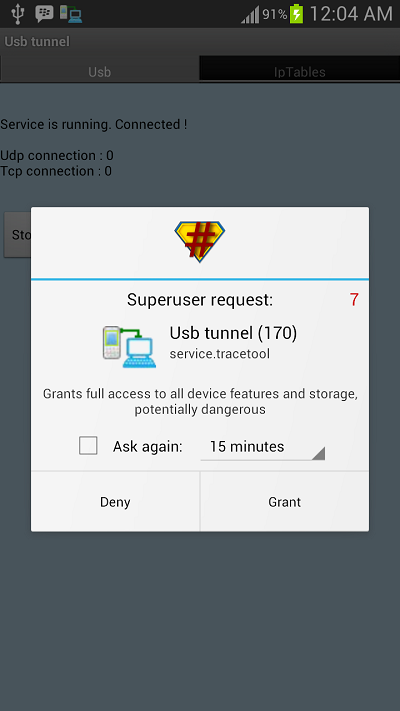 reverse tethering share interent connection with android phone
