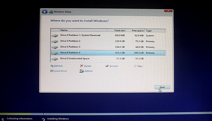 select-patrition-to-install-windows-8.1