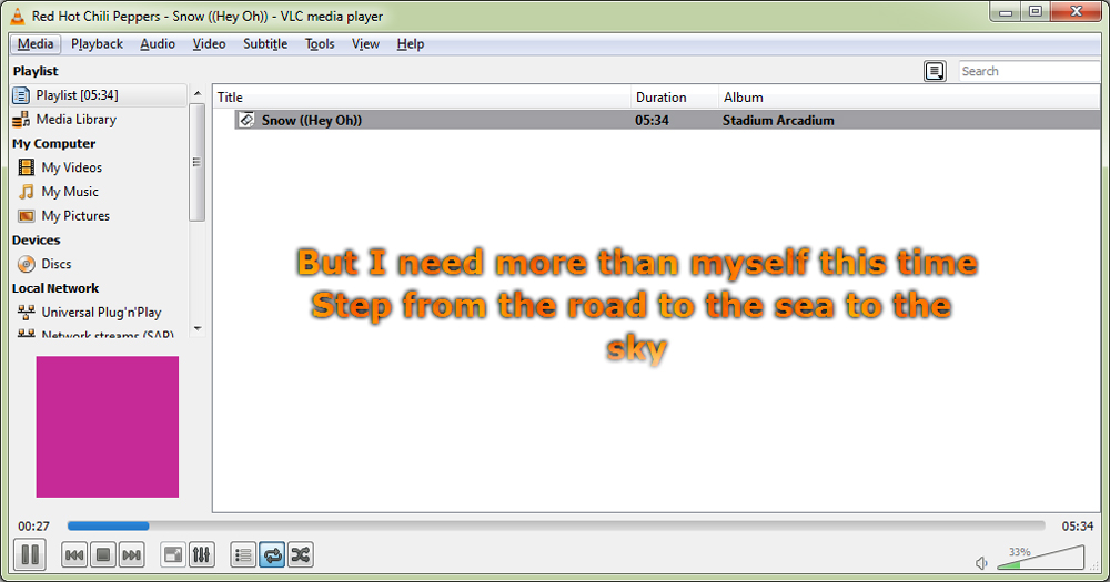 lyrics media player:
