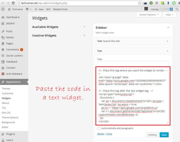 adding-google-plus-badge-code-to-wordpress-sidebar