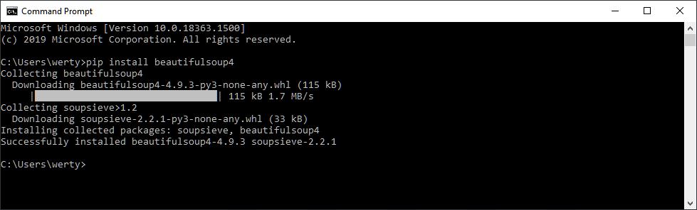 install beautifulsoup4 windows